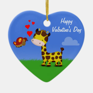 Giraffe and Butterfly Valentine's Day - Ornament