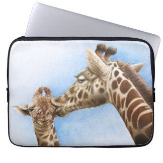 Giraffe and Calf Electronics Bag Laptop Computer Sleeve