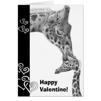 Giraffe and Calf Happy Valentine Card