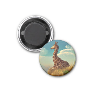 Giraffe and Distant Mountain Refrigerator Magnets