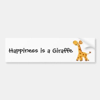 Giraffe and Hearts Art Bumper Sticker