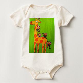 Giraffe and Monkey Business Baby Bodysuit