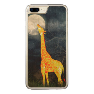 Giraffe and Moon iPhone 6 Samsung Galaxy Wood Carved iPhone 8 Plus/7 Plus Case