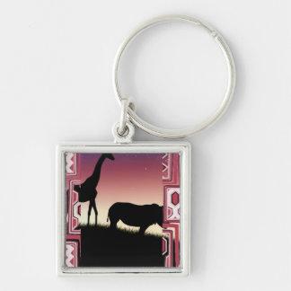 Giraffe and Rhino Key Ring