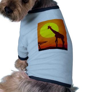 Giraffe and Sunset Ringer Dog Shirt