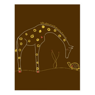 Giraffe and turtle on Brown and Yellow Postcard