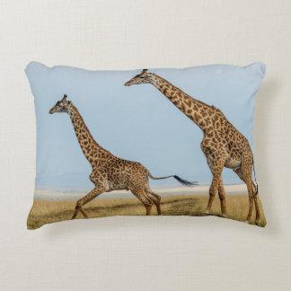 Giraffe and Young Running Decorative Cushion