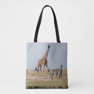Giraffe and Zebras by a Waterhole Tote Bag