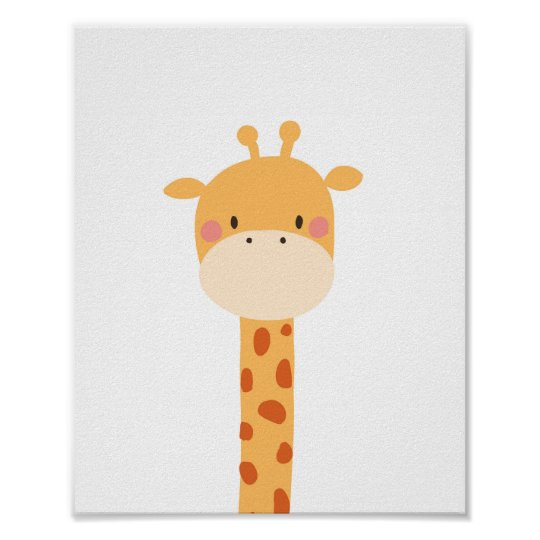 Giraffe Animal Nursery Wall Art Print Jungle Zoo
