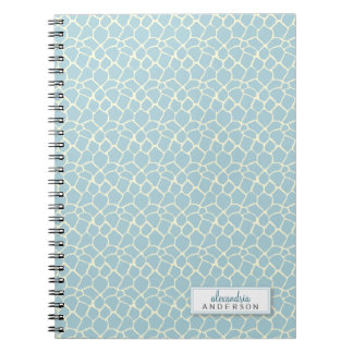Giraffe Animal Pattern Custom Notebook (baby blue)
