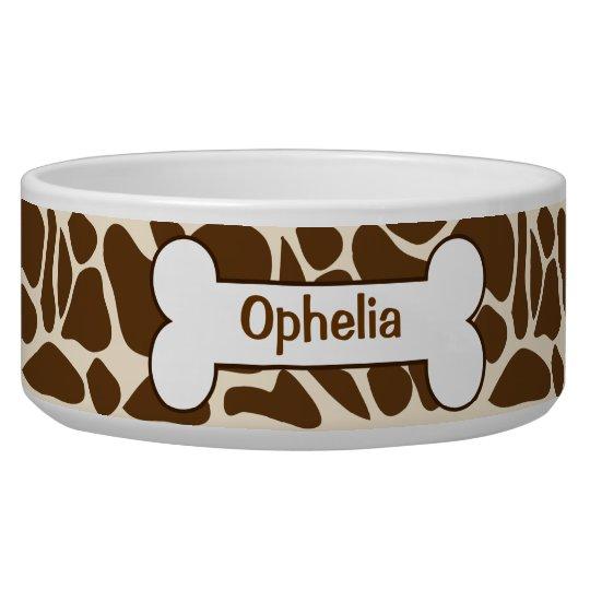Giraffe Animal Print Pattern Food Dish Customised Pet Bowl