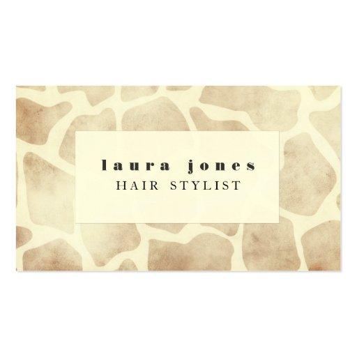 Giraffe Animal Print Pattern Hair Stylist Template Business Card Templates