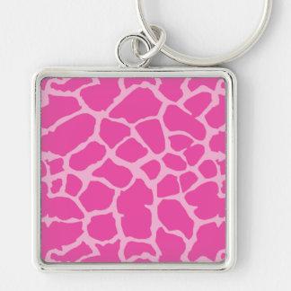 Giraffe Animal Print Pink Magenta Design Keychain