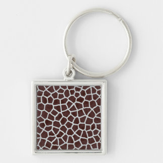 Giraffe animal print Silver-Colored square key ring