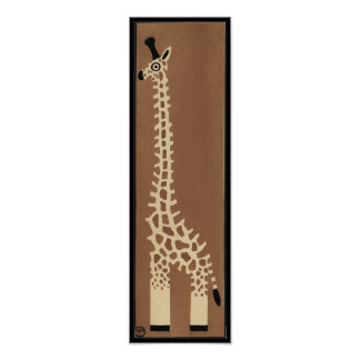 Giraffe - Antiquarian, Colorful Book Illustration Poster
