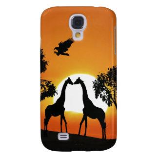 Giraffe at sunset galaxy s4 cases