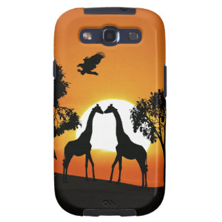Giraffe at sunset galaxy s3 cover