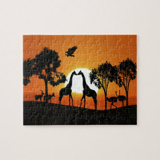 Giraffe at sunset jigsaw puzzle