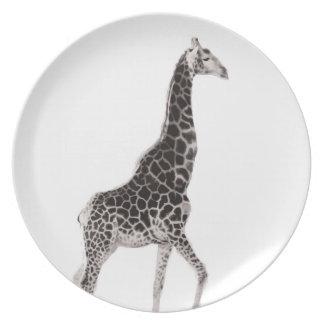 Giraffe B&W Plate