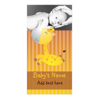 Giraffe Baby Announcement Customised Photo Card