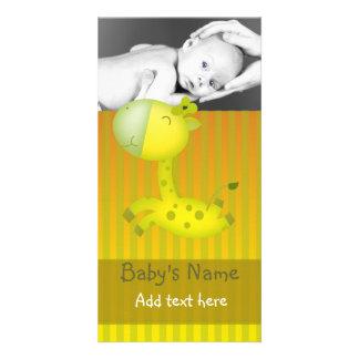 Giraffe Baby Announcement Photo Card Template