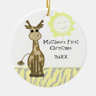 Giraffe Baby First Christmas Christmas Ornament