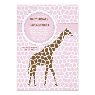 Giraffe Baby Girl Shower Invitation