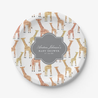 Giraffe Baby Shower 7 Inch Paper Plate