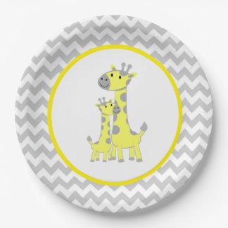 Giraffe Baby Shower Chevron Paper Plate