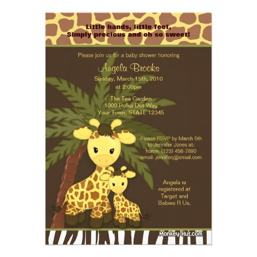 giraffe baby shower invitation safari jungle mummy 13 cm x 18 cm