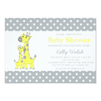Giraffe Baby Shower Invitations Yellow and Gray