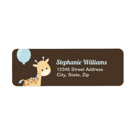 Giraffe Baby Shower Return Address Labels