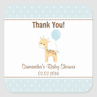 Giraffe Baby Shower Thank You Stickers (Blue)