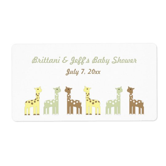 Giraffe Baby Shower Water Bottle or Favour Label