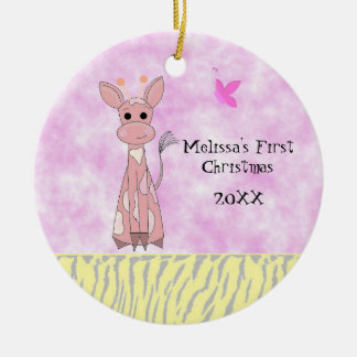 Giraffe Baby's First Christmas Christmas Ornament