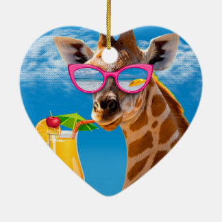 Giraffe beach - funny giraffe christmas ornament