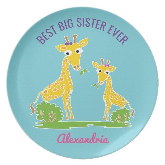 Giraffe Best Big Sister Ever Sisters Personalised Plate