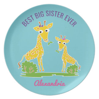 Giraffe Best Big Sister Ever Sisters Personalized Party Plate