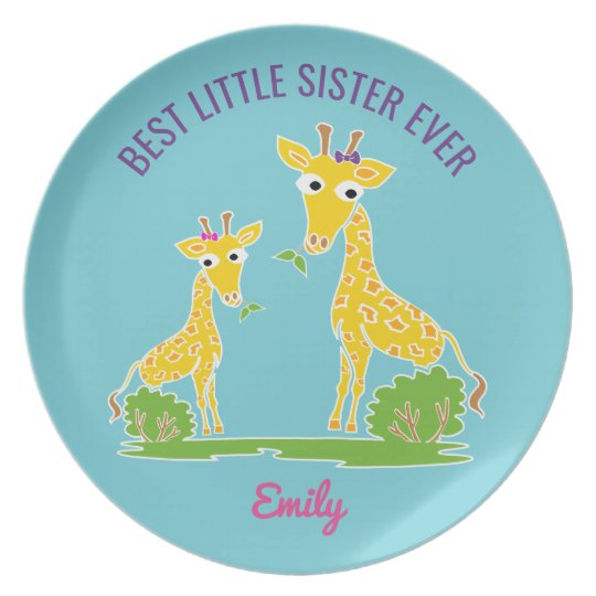 Giraffe Best Little Sister Ever Personalised Kids Plate