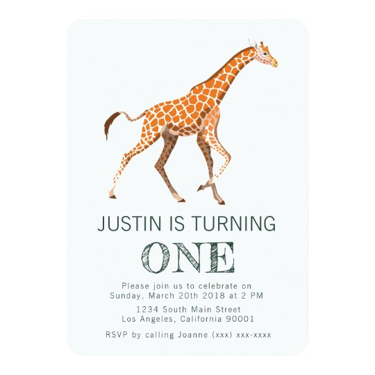 giraffe birthday invitation zazzle co uk