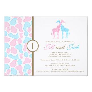 Giraffe Birthday Invitation - Twin Boys
