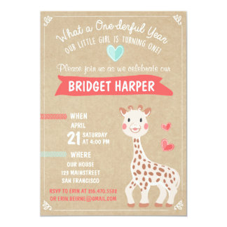 Giraffe Birthday Party Invitation First Birthday