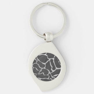Giraffe Black and Light Gray Print Silver-Colored Swirl Metal Keychain
