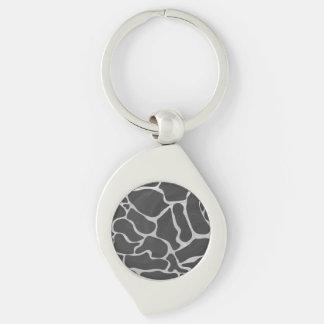 Giraffe Black and Light Gray Print Silver-Colored Swirl Key Ring