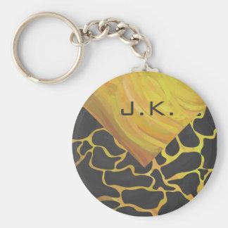 Giraffe Black and Yellow Print Keychains