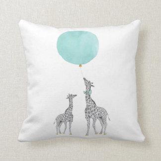 Giraffe & Blue Balloon Throw Cushion