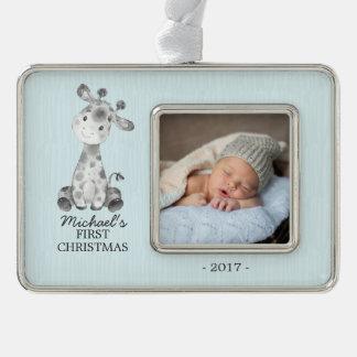 Giraffe Boys Baby's First Christmas Photo Ornament