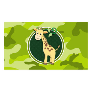 Giraffe bright green camo camouflage business card templates