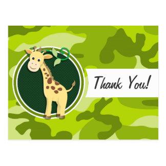 Giraffe; bright green camo, camouflage postcards