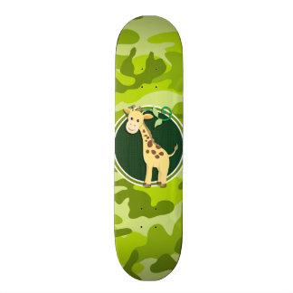 Giraffe; bright green camo, camouflage custom skate board